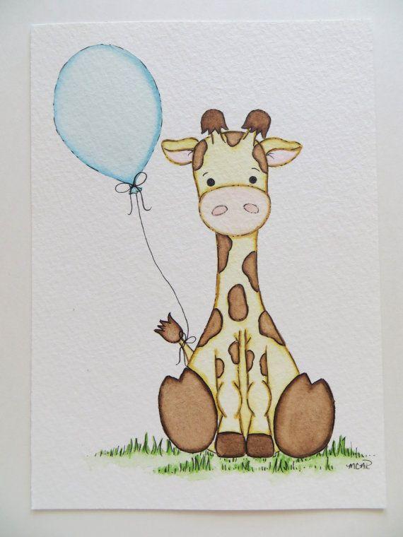 Giraffe en ballon aquarel schilderen kinderkamer door Waterblooms