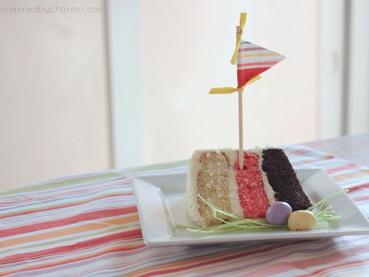 Taste all your favorites with this Neapolitan cake! Delish! The frosting is AMAZING!