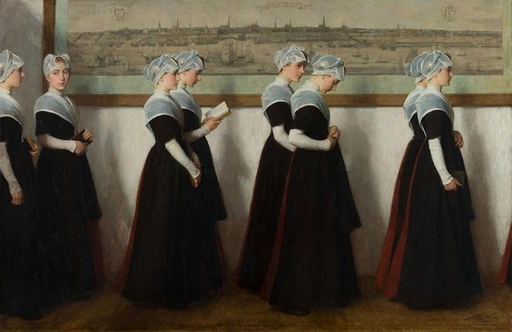 Orphan Girls going to Church, c.1880 by Nicolaas van der Waaij (Dutch 1855-1936)