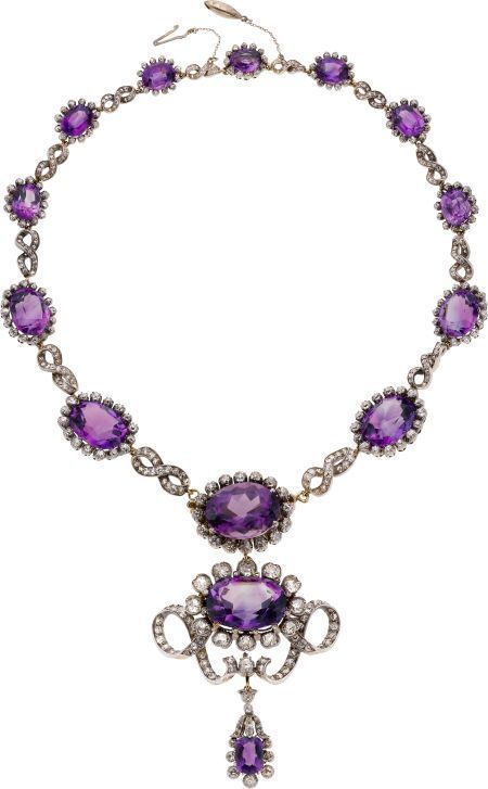 Amethyst, Diamond, Silver-Topped Gold Necklace (late-19th Century) [$27,485]