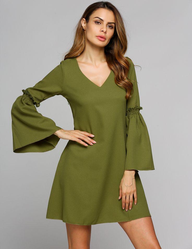Green Bell Solid Collar Dress