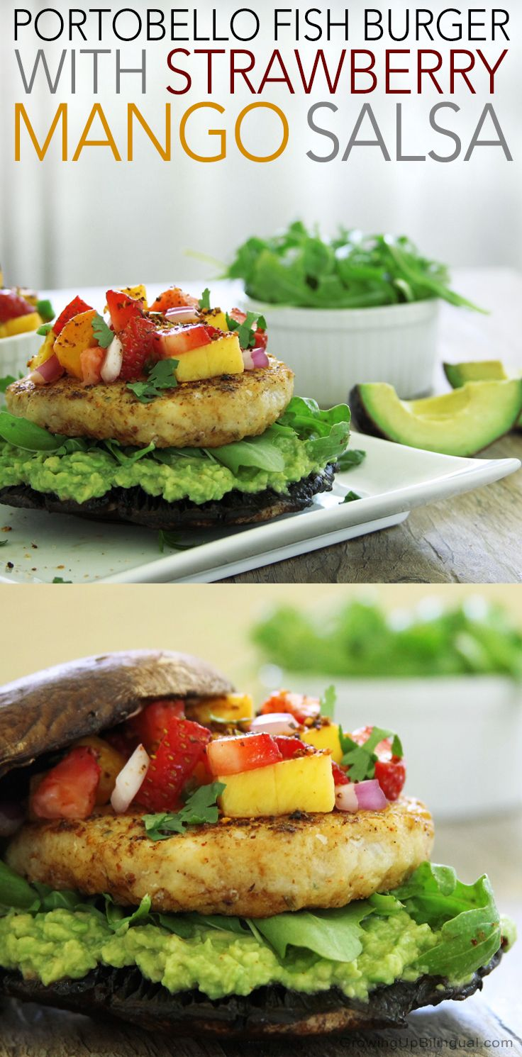 Portobello Fish Burgers With Strawberry Mango Salsa