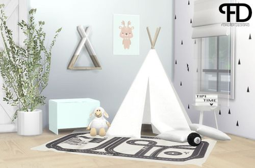 "foreverdesigns: "" Jace Tipi Set  Hi everyone! I have created a small set for a kids room or a nursery. It is an other conversion/recoloring set with 8 new items! I hope you guys like it as much as I do. It is inspired by awesome Scandinavian styles I..."