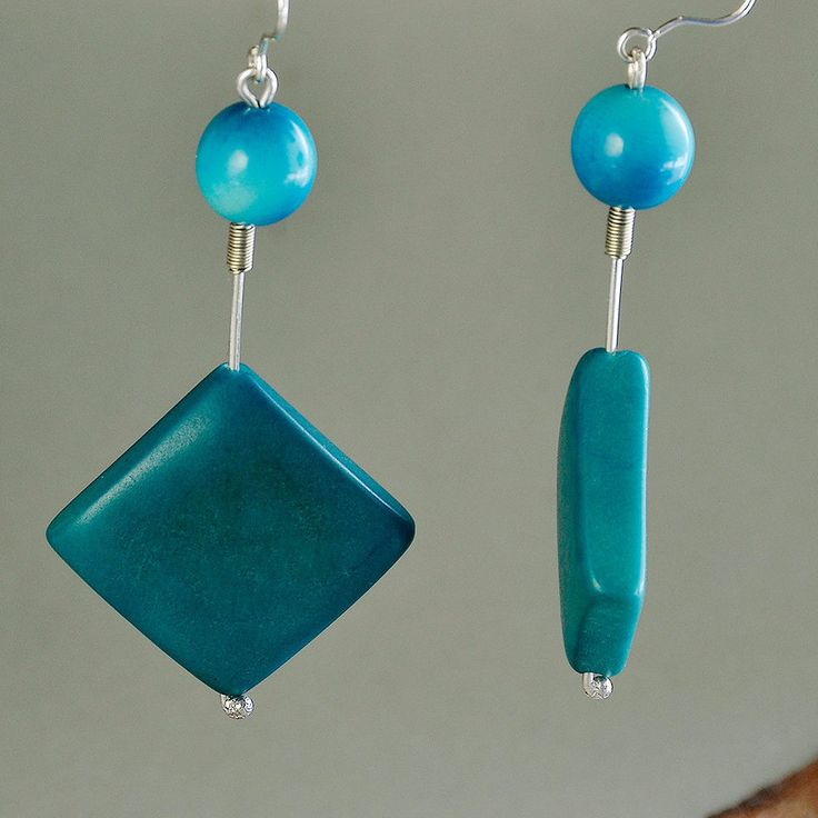 Long silver earrings with turquoise tagua nuts, handmade square turquoise vegetable ivory nut earrings, long colorful tagua nut earrings by ColorLatinoJewelry on Etsy