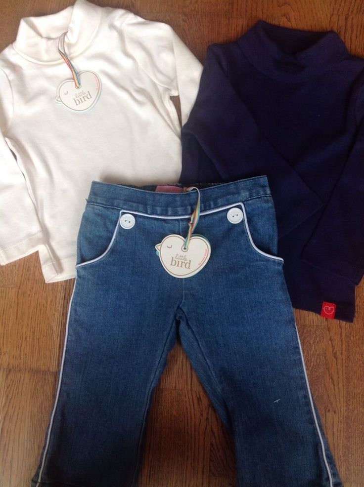 Little Bird By Jools Oliver Girls Denim Jeans And 2 Roll Neck Tops Age 9-12mths