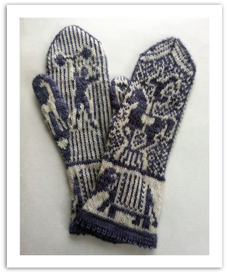 Retro Circus mittens knitting pattern design by Andrea Arbour. These mittens were inspired by the circuses of yesteryear. From the talented acrobats and strongmen to the magnificent animals, such as the elephants, horses, and giraffes.