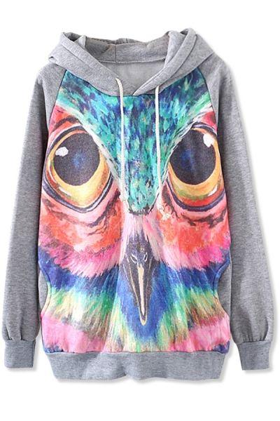 Colorful Owl Print Hoodie - OASAP.com  EUR 28.00