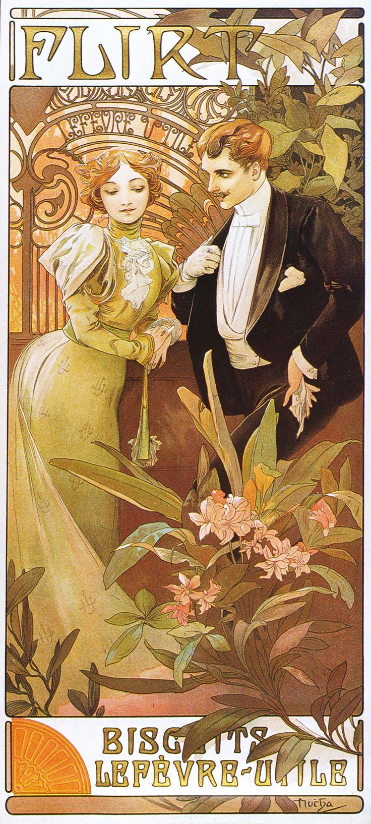 "Alphonse Mucha ""Flirt"""