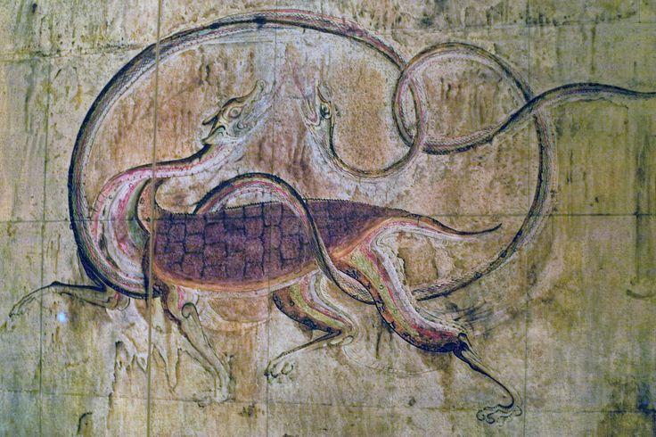 https://flic.kr/p/HVWyew | 고구려 무덤 사신도 현무 : Wall Painting on the Theme OF the Four Cardinal Deities - 玄武 | 청룡 백호 주작과 함께 사신도의 주요 캐릭터인데 고구려 무덤 벽화 중 가장 또렷하게 남아있는 그림이라서 이것을 올려뒵니다. 다른 애들은 어무 바래서 사진보다 실제로 보지 않는 한 확실히 알아보기 어려운 이미지라는 것이 아쉽지요.