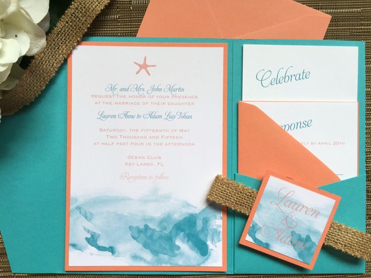 Turquoise And Coral Wedding Invitations: Watercolor Coral And Turquoise Beach Wedding Invitation