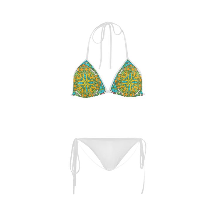 New arrival in Shop : exclusive designers bikini edition / blue and vintage old yellow 30s inspired  Custom Bikini Swimsuit