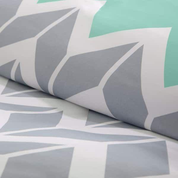 Intelligent Design Laila Teal Chevron Print Microfiber Duvet Cover Set