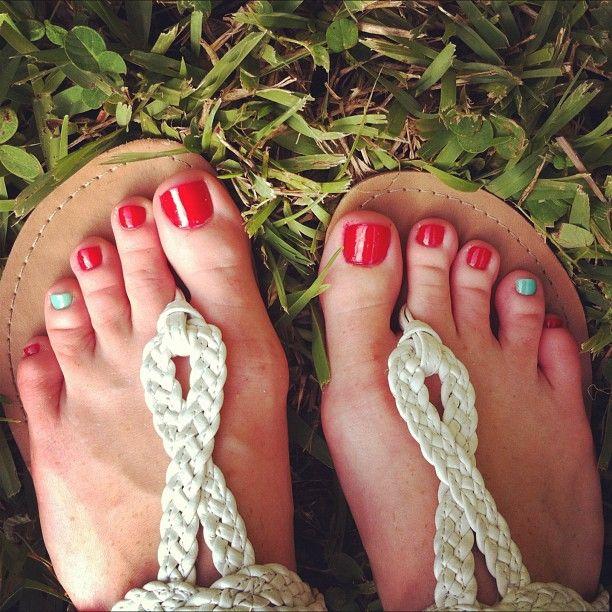My #toes #me #essie #red #turquoise #mint #fashion #summer #nails #nailart #polish #nailpolish #cutepolish #nail #paint #beautiful #cute #life #love #happy #girl #catcoule