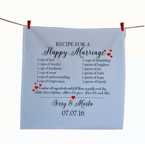 Personalized tea towel in cotton with couple name and wedding date! This kitchen towel, dishcloth can be wrapped around gifts and become special keepsakes. Packaging a gift with a tea towel is simple,
