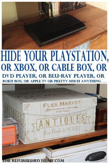 How to hide your not so decorative items. Whether it's your Blu-Ray player, DVD player, video game systems or most any other tech, this is a great way to hide it away! The Refurbished Home.com