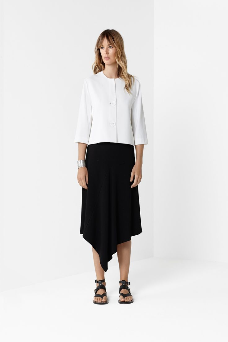 White Pea Jacket Black Iris Skirt