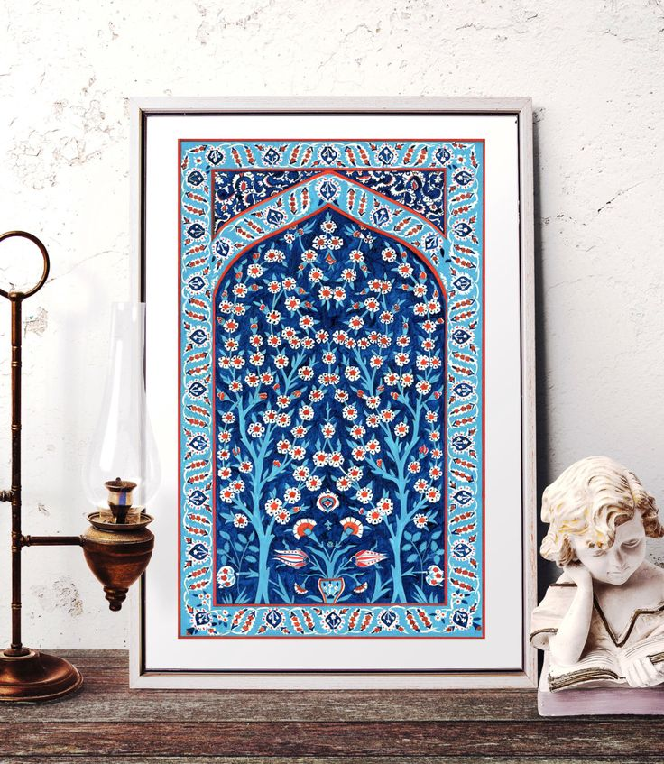 Turkish Tile Tree of Life Watercolor Painting, Traditional Ottoman Floral and Tree of Life Wall Art, Iznik Tile Prints and Original Painting by HermesArts on Etsy https://www.etsy.com/listing/219210043/turkish-tile-tree-of-life-watercolor