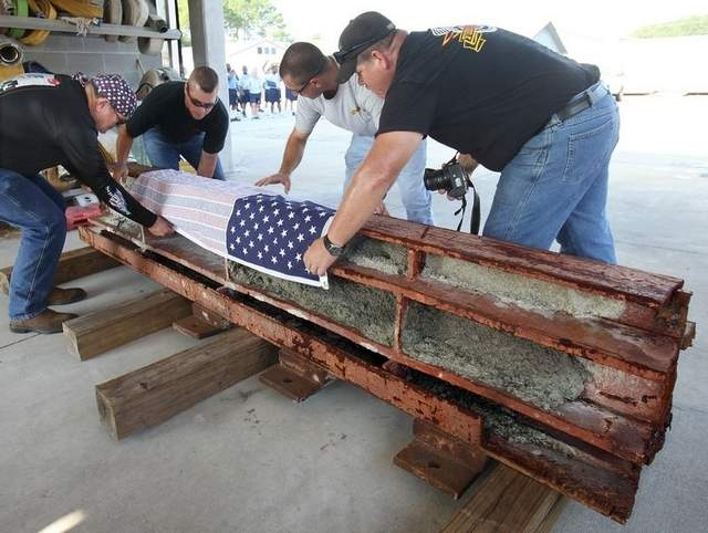 Firefighters escort a 2400lb  beam from the World Trade Center to Tallahassee. It will be dedicated in a memorial for the 10th anniversary of 9/11/2001.....never forget!