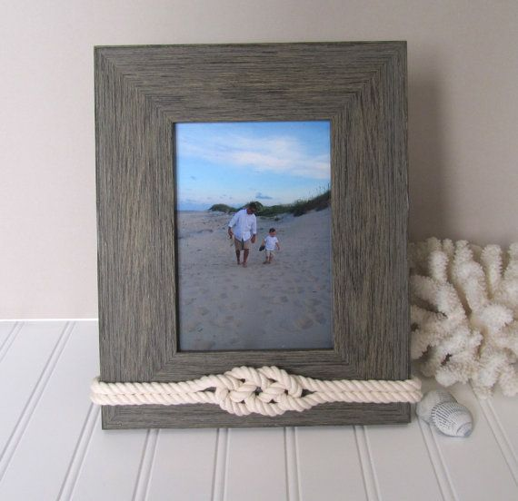 Rustic Beach Picture Frame  Nautical Knot  5x7 by Golden Gray, $40.00