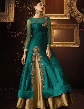 Teal Green Bridal Wear Anarkali Suit With Net Material