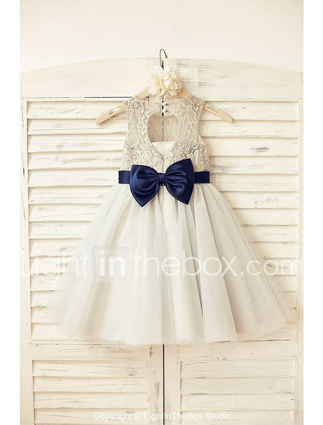A-line Knee-length Flower Girl Dress - Lace / Tulle Sleeveless Scoop with 2017 - $83.39