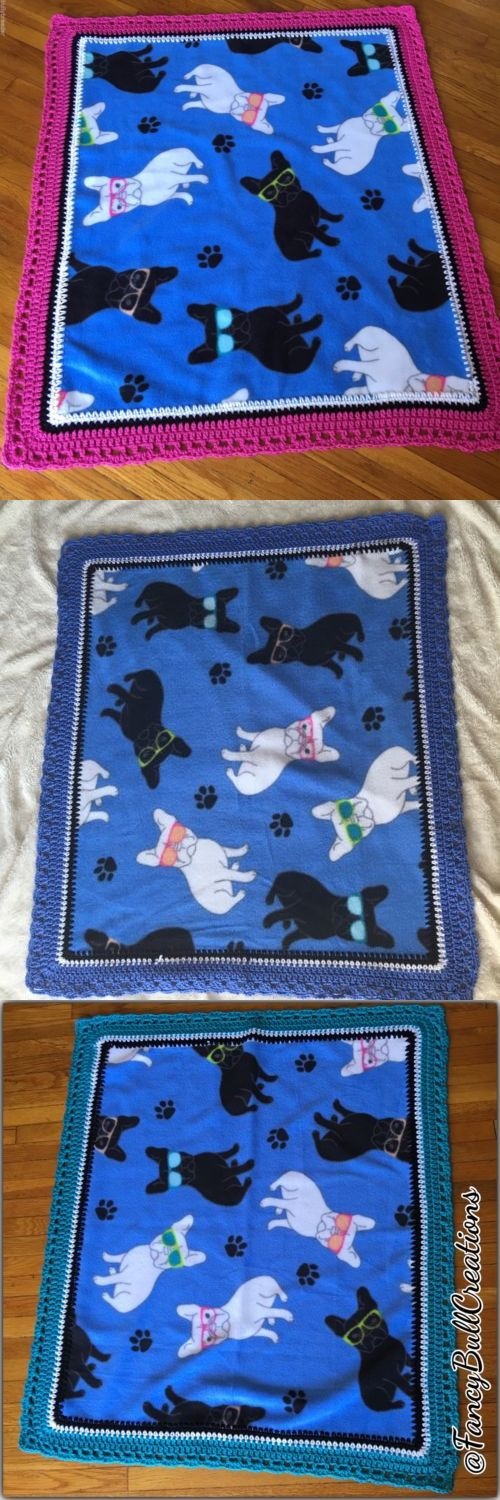 Blankets 116377: French Bulldog Handmade Crochet Fleece Blanket For Baby Or Pet Puppy Dog Bedding BUY IT NOW ONLY: $49.99