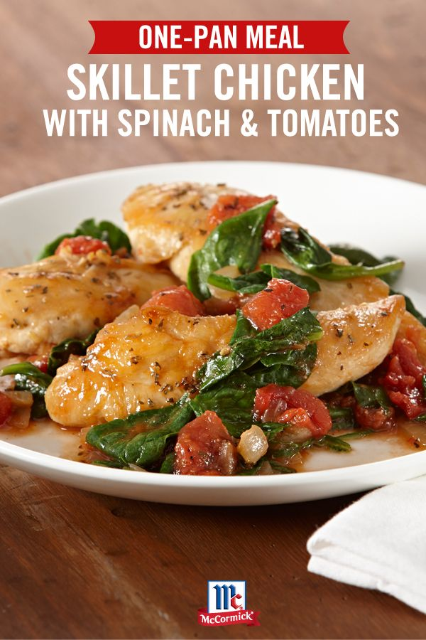 Ready in 30 minutes, this one-pan chicken recipe features fresh tomatoes and spinach. Serve over pasta or couscous for an easy weeknight dinner.