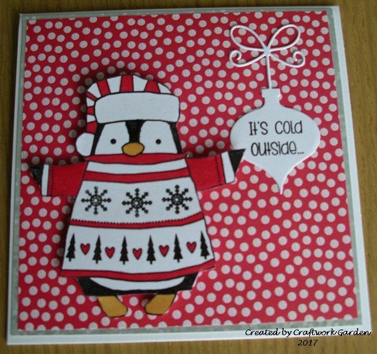 Cute Snuggly Penguin Christmas Card
