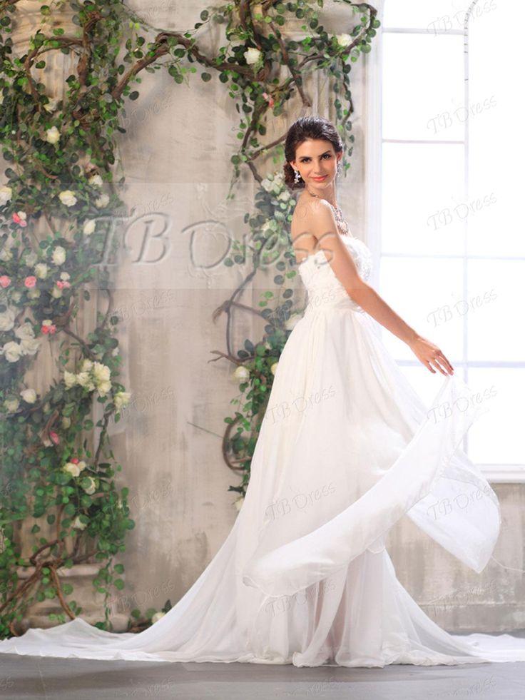 Exquisite Sweetheart Empire Floor-length Chapel Appliques Wedding Dress.http://www.tbdress.com/product/Exquisite-Sweetheart-Empire-Floor-Length-Chapel-Appliques-Wedding-Dress-8887237.html