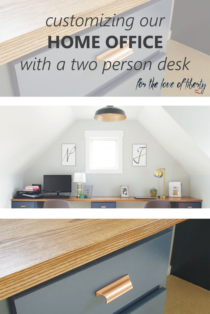 Our home office reveal: Creating a two person desk and home office work space.