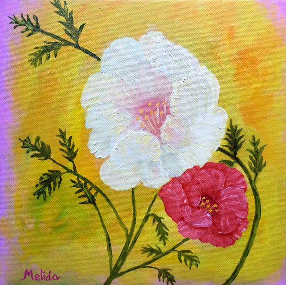 White and Red Poppy Painting Original Oil Painting by MelidasArt