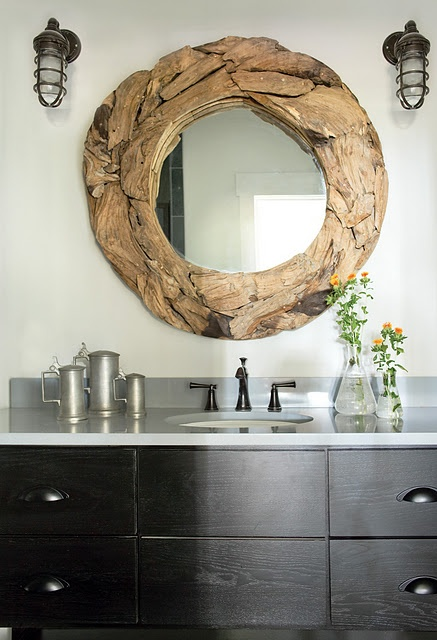 driftwood on round mirror-reminds me of schools of fish ;)
