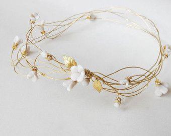 Bridal hair crown, floral headpiece, tiara, flower hair wreath, wedding hair jewelry, gold hair accessories, white clay, ANNIE