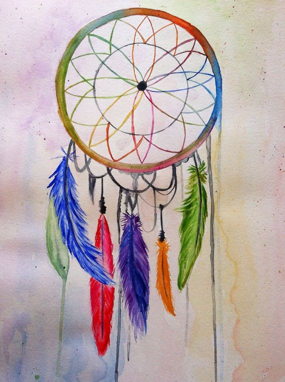 Watercolor Dream Catcher on Etsy, $45.00