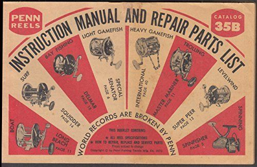 #fishingshopnow Penn Fishing Reels Catalog Instruction Manual Repair Parts Line 35B 1973
