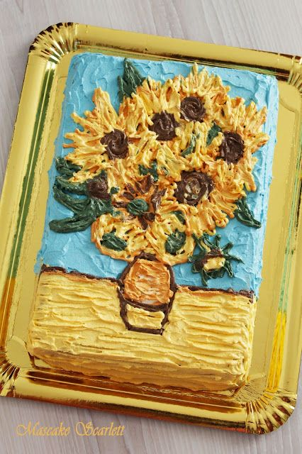 TARTA VAN GOGH CAKE GIRASOLES SUNFLOWERS For nanny's birthday