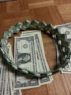 Big Ideas 3: Money Headband for Graduation.   I remember making bracelets like this (with gum wrappers) when I was a kid.