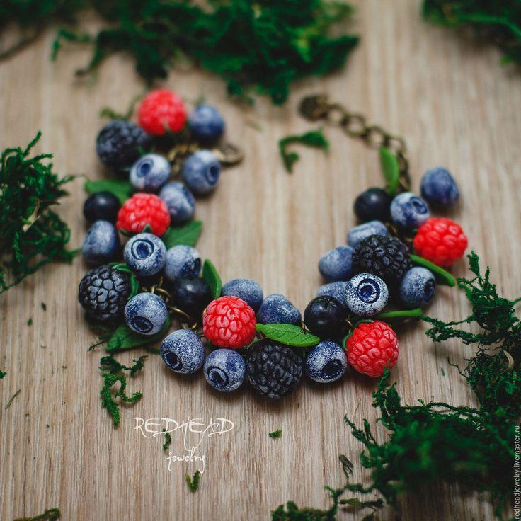 Купить Браслет Сочные ягодки - разноцветный, малина, малинки, Ягодки, ягоды из полимерной глины
