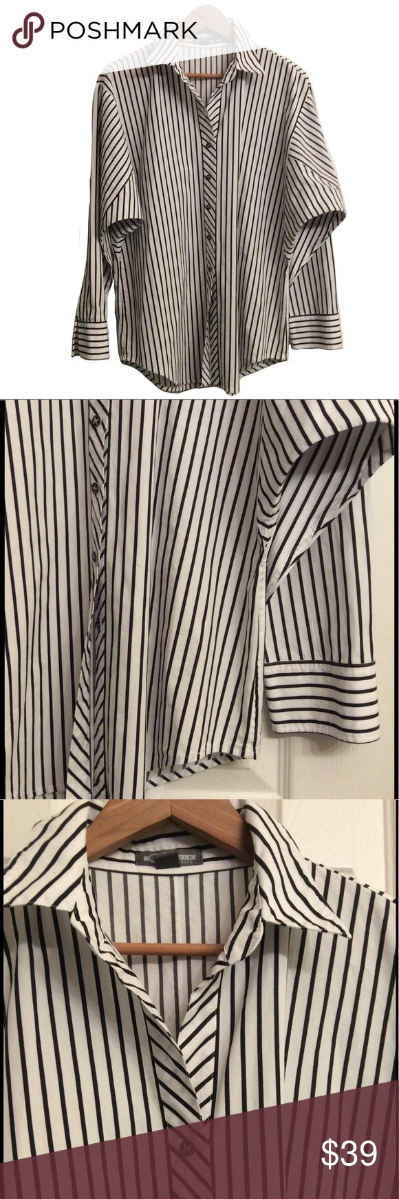 GO Silk NWOT skinny stripped big shirt This is a gorgeous tunic blouse with intricate detailing, notice interesting positioning of stripes to complement the figure, unique buttons, very elegant 😍 100% cotton, PETITE LARGE, 29 inches long,  23/46 inches  approximately between armpits, 22/44 below, 22 inches sleeves, sold at Neiman's currently on sale for $125 GO SILK Tops Tunics