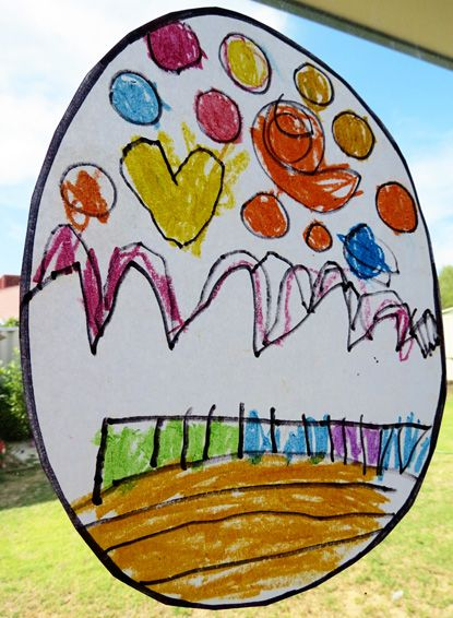 Childhood 101 Kids Art Ideas - Stained glass effect drawings with vegetable oil