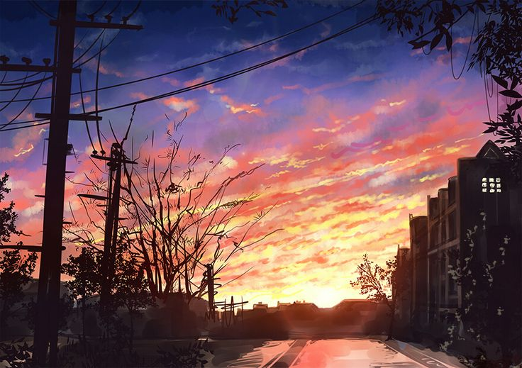 Anime Sunset Art Gw gak tau resolusinya hd atau bukan. What i know is this is pretty cool pict #Timothy