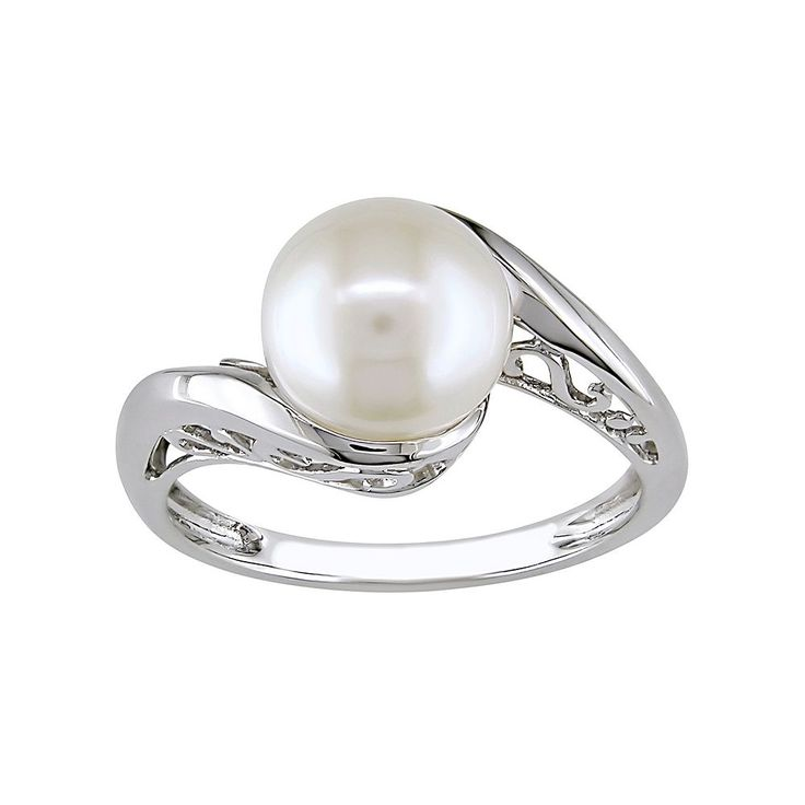10k White Gold Freshwater Cultured Pearl Bypass Ring, Women's, Size: 8
