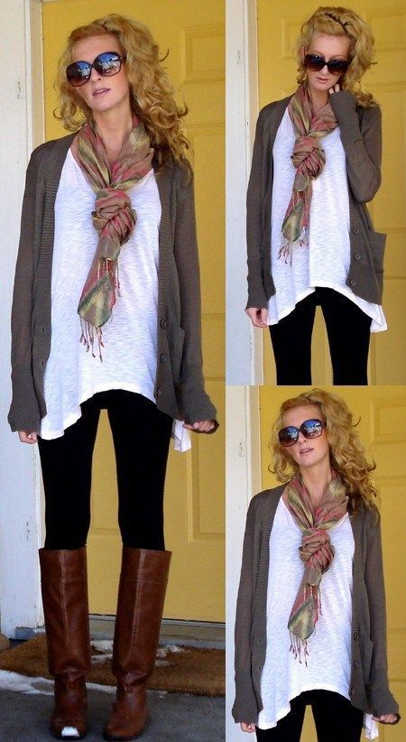 Brown boots, white t, black leggings, cardi, fall scarf. Especially like the shape of the hem on the t.