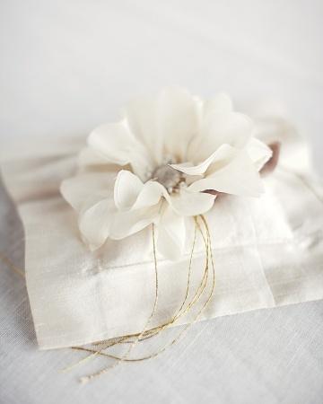 An elegant dupioni silk cushion topped with a silk blossom and gold threadSilk Blossoms, Silk Dupioni, Pretty Rings, Rings Bearer, Gold Thread, Silk Cushions, Cushions Tops, Martha Stewart Wedding, Rings Pillows