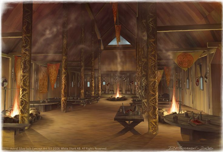 """This viking hall belonging to the king """"Blåtand"""" (blue tooth), was made for…"""