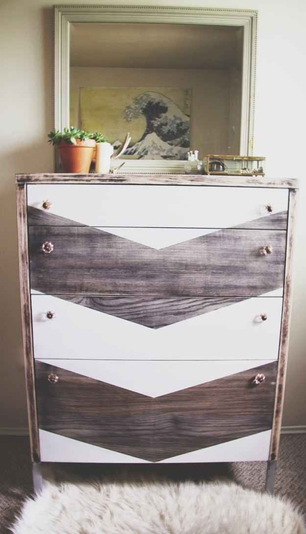 Painted Chest Of Drawers Dresser With Wood Stain And Chevron Design Trendy Vintage Home Decor Look