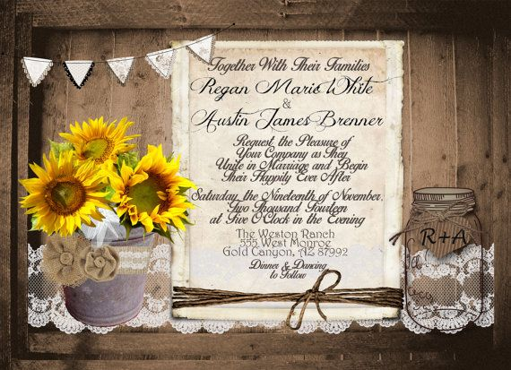 Digital Wedding Invitation Ideas: Rustic And Lace Wedding Invitation, Sunflowers, Mason Jar