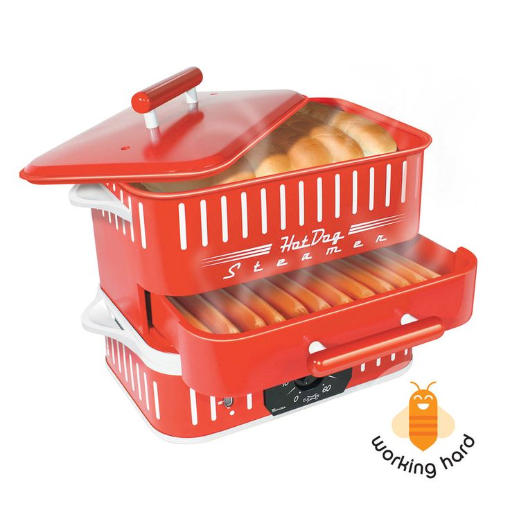 HOT DOG STEAMER MACHINE Electric Food Bun Warmer Cooker Red Retro Vintage #CuiZen #Classic