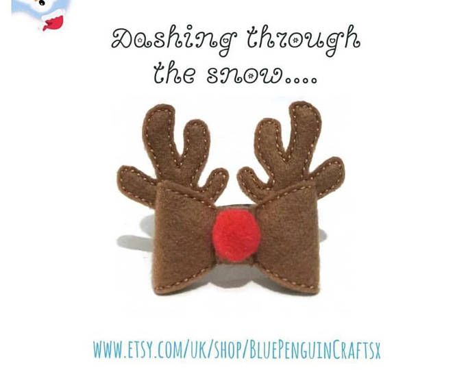 Reindeer hair bow, Rudolph hair clip, Christmas felt hair bow, girls Christmas clip, xmas felt hair accessory, hairbows for girls, UK