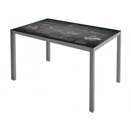 Mesa de cocina estructura con recubrimiento gris epoxi-poliester y encimera de cristal templado:      Ancho: 60 cm     Largo: 105 cm     Alto: 75 cm